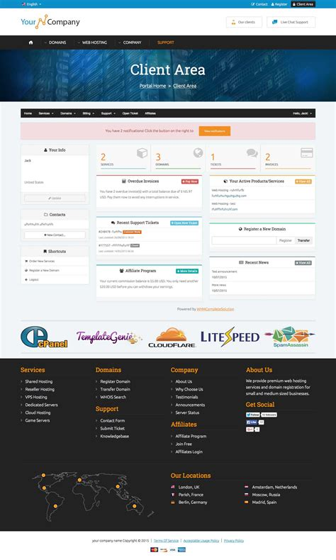 Html5 Css3 Responsive Template A Highly Professional Website Template That Supports Both Whmcs Client Area Templates Free