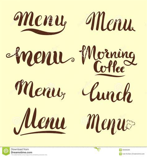 menu design lettering set of menu lettering stock vector image of classic