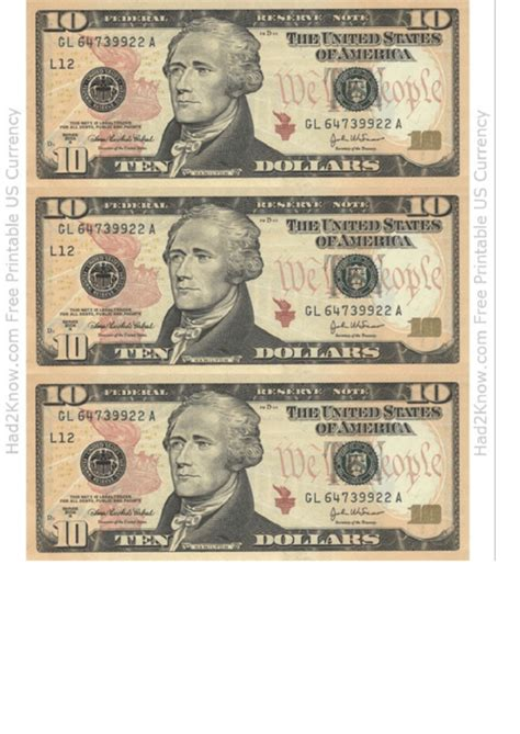 ten dollar bill template front printable