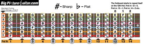guitar fretboard notes diagram notes on fretboard big picture guitar