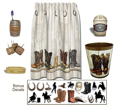 Western bath set shower curtain cowboy theme bathroom accessories 6 piece set ebay
