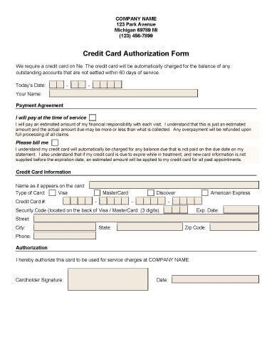 credit card deposit form template credit card authorization forms hloom
