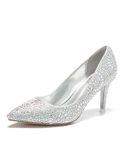 simple glitter silver prom shoes with pointed toe 2018