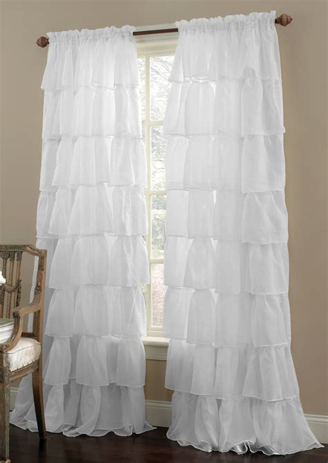 Gypsy Ruffled Sheer Curtains White Lorraine Home White Ruffled Curtains For Nursery