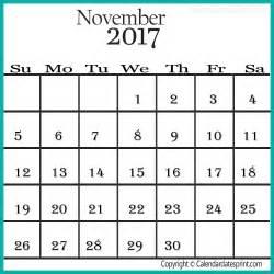 Calendar November 2017 Template Free November 2017 Calendar Template Printable Calendar