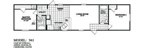 2 bedroom 1 bath mobile home floor plans model 941 14x60 2bedroom 2bath oak creek mobile home