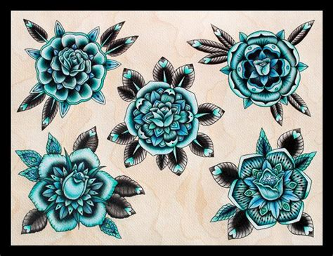 aqua flower tattoos and photo turquoise roses flash print