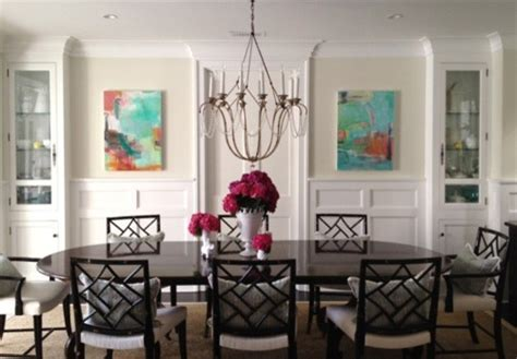 Abstract Art Enhances Traditional Dining Room | abstract art enhances traditional dining room