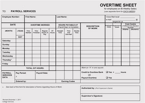 Overtime Sheet Templates Weekly Monthly For Excel Overtime Schedule Template