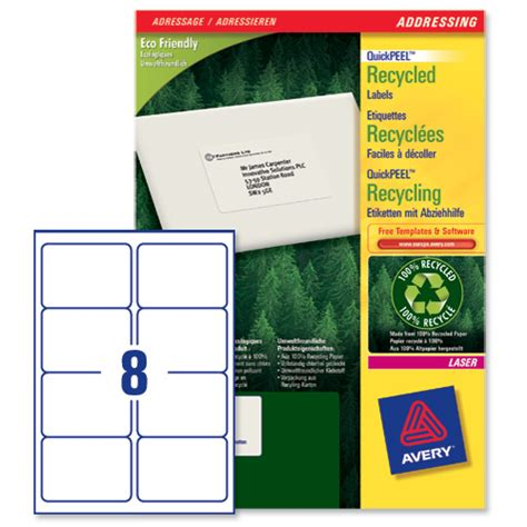 8 per page label template avery lr7165 quickpeel recycled addressing labels white