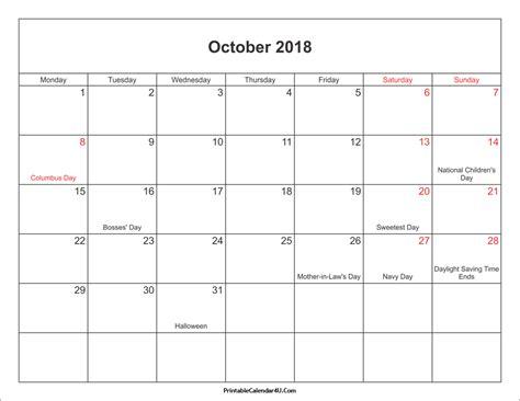printable calendar oct 2018 october 2018 calendar printable with holidays pdf and jpg