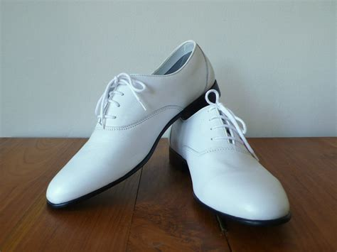 white dress shoes vintage 9 5 s white leather oxford dress shoes ambre