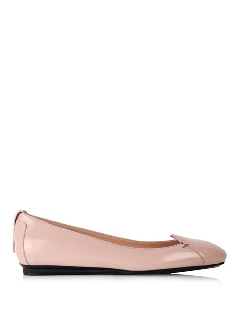 tod s gomma patent leather ballerina flat in pink lyst