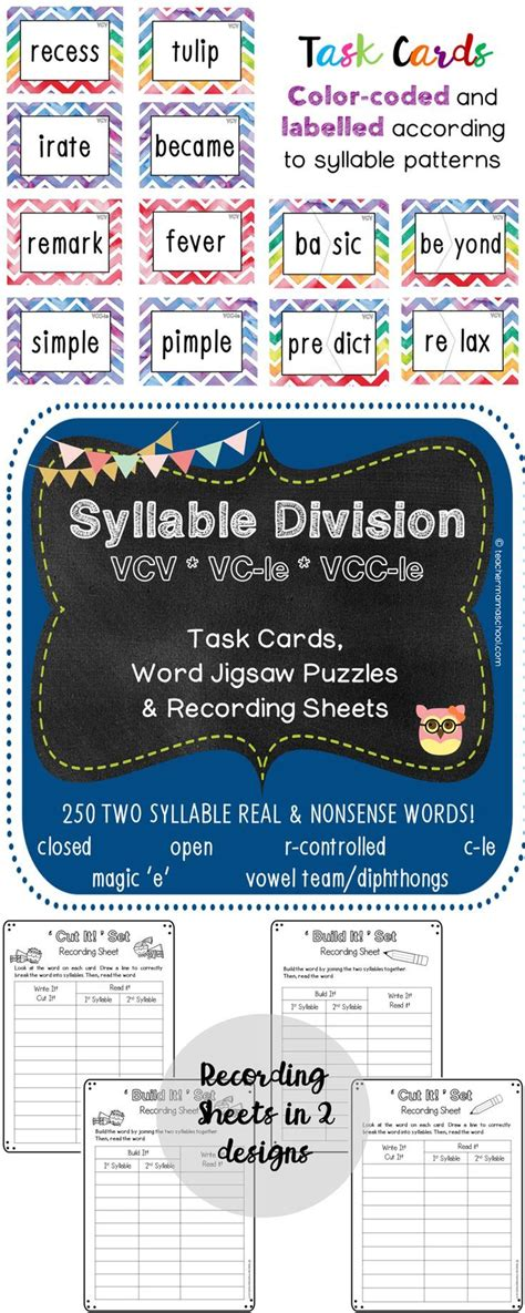 vcv pattern rule syllable task cards vcv pattern and final stable