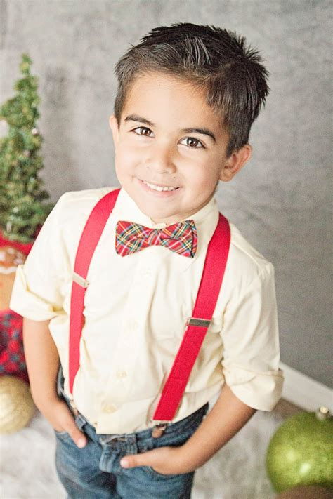 toddler christmas outfit red plaid bow tie and suspenders