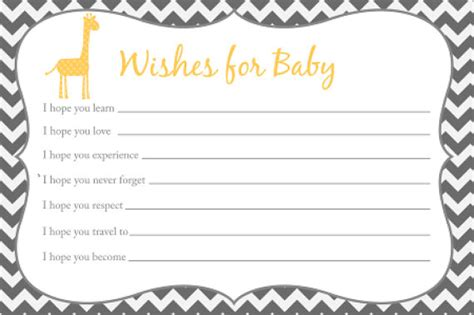 baby shower wish list template wishes for baby card printable chevron baby by