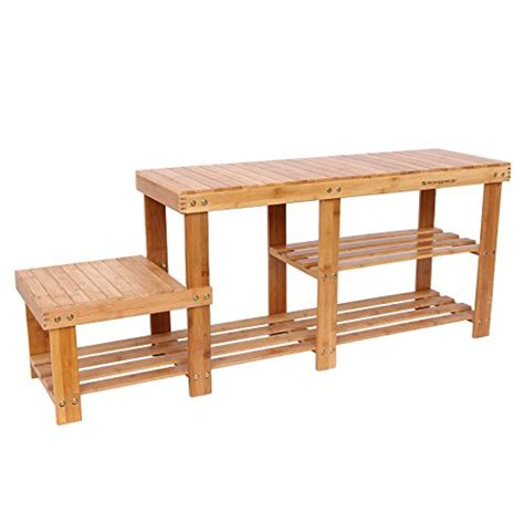 low bench with storage songmics bamboo shoe bench entryway storage rack with high