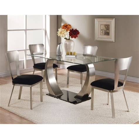 glas top tables esszimmer acme camille glass top dining table in black 10090
