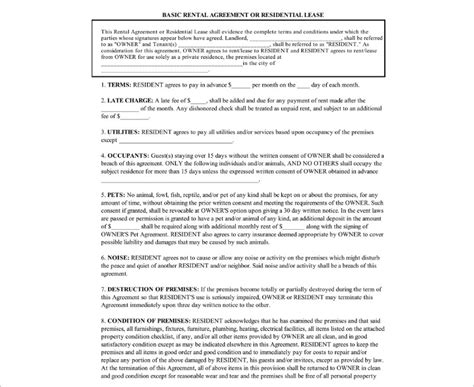basic residential lease agreement template rental agreement template free pdf word documents