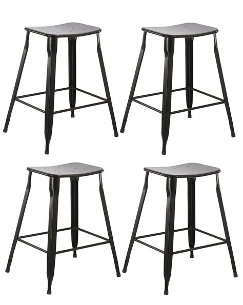 24 quot set of 4 stackable metal counter btexpert 24 inch industrial metal vintage stackable black slim backless counter bar stool set
