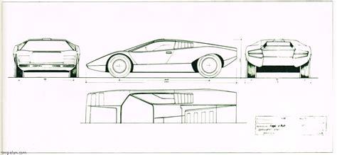 Drawing Blueprints lamborghini countach lp500 prototype car magazine scans