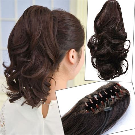 short hairstyle using a pony tail type piece stylish short curly ponytail extension long claw clip in