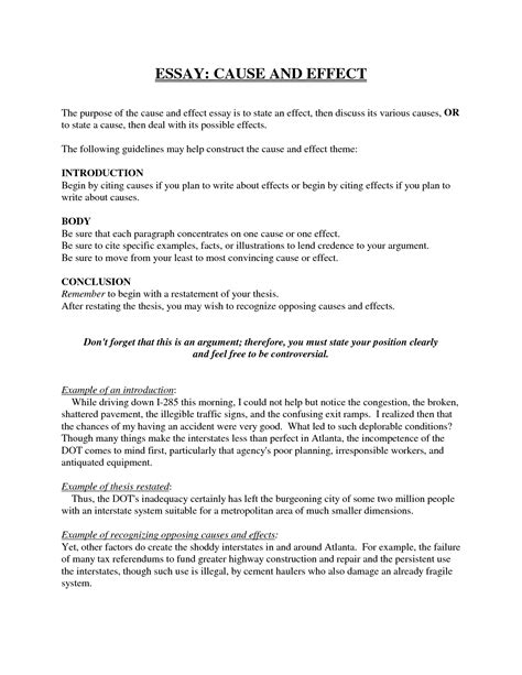 Exle Of Cause Essay by College Essays College Application Essays Cause And Effect Essay Sle Pdf