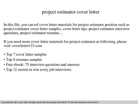 Estimator Cover Letters by Project Estimator Cover Letter