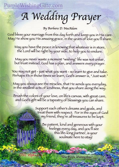 Wedding Blessing Words From Bible by A Wedding Prayer 5x7 Prayer Wedding