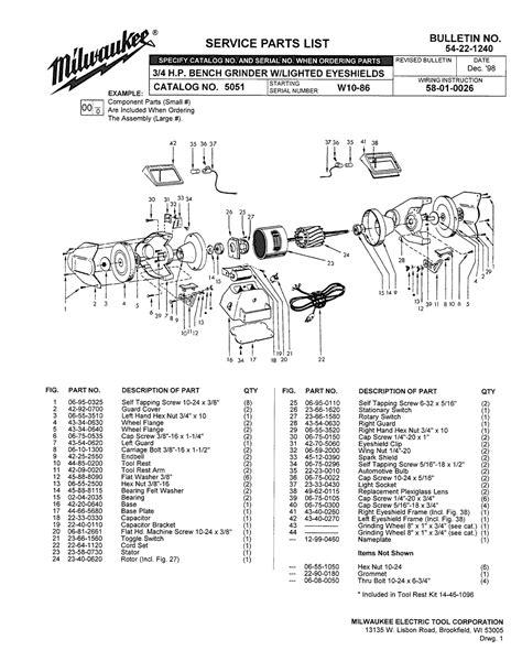 milwaukee bench grinder 5051 milwaukee 5051 w10 86 parts 3 4 h p bench grinder with