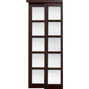 Truporte Closet Doors Truporte 48 In X 80 In 2240 Series Espresso 5 Lite Composite Universal Grand Sliding Door