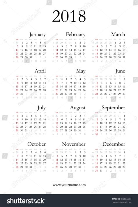 simple calendar 2018 vector template