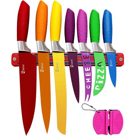 Kitchen Knife Set Plus Magnetic Strip and Sharpener by