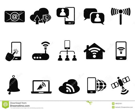 Small House Plans Free Digital Communication Icons Set Stock Vector Image 48622451