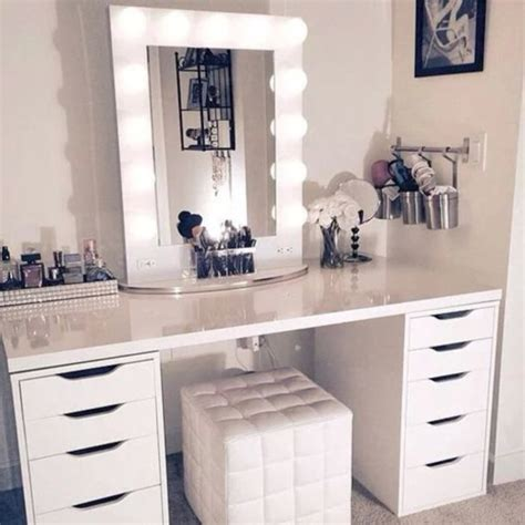 desk with mirror and lights home accessory desk mirror lights white