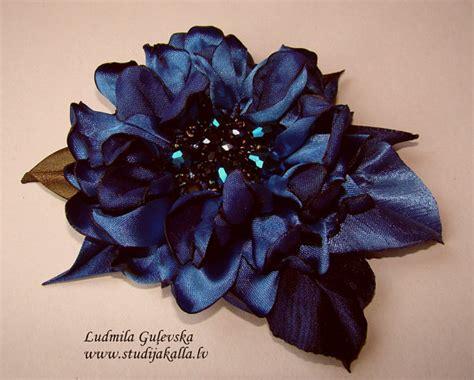Flower Pin Combined Dress 12482 handmade blue satin flower brooch flower clip pin