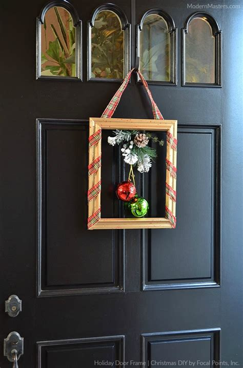 modern front door decor christmas diy holiday door frame modern masters cafe blog