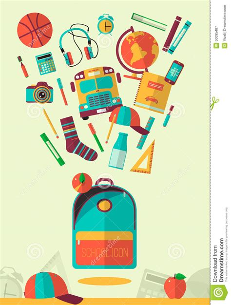 education ilustration vector school workspace illustration education and school