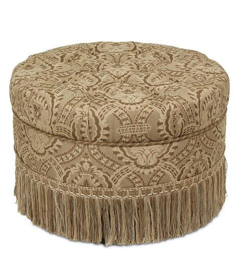 round tufted ottoman with fringe luxury bedding by eastern accents nottingham round ottoman