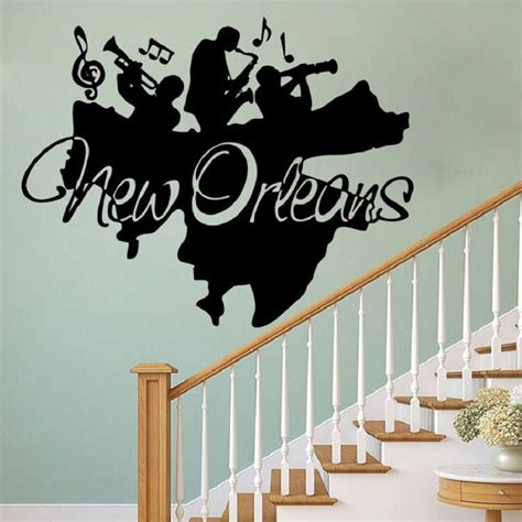Applique Murale Led 1767 by Black 58 X 73 Cm New Orleans Jazz Wall Mural Decor
