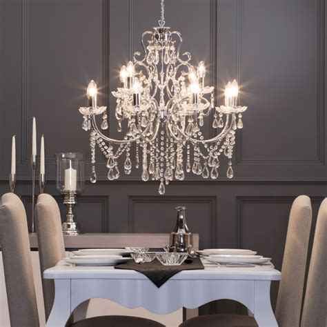 12 light madonna chandelier in chrome dining