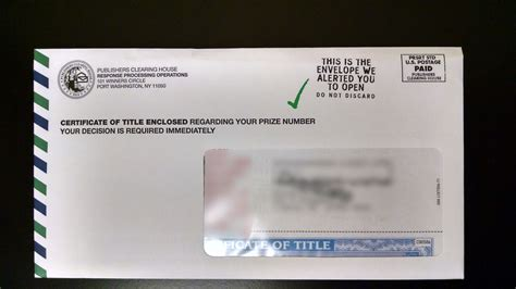 Publisher Clearing House Number - did you receive a certificate of title in the mail pch blog