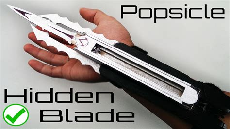 Assassins Creed Triple Hidden Blade Made From Popsicles Youtube Popsicle Stick Butterfly Knife Template