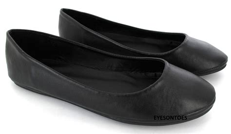 plain black flat shoes flat dolly pumps plain ballet ballerina work