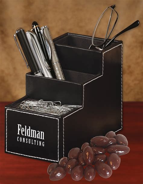 Faux Leather Desk Organizer Bld124 Faux Leather Desk Organizer With Chocolate Covered Almonds