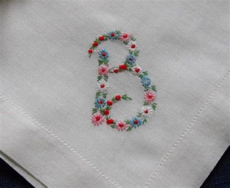 embroidery design in handkerchief monogram b hankie hanky embroidered flowers b monogrammed