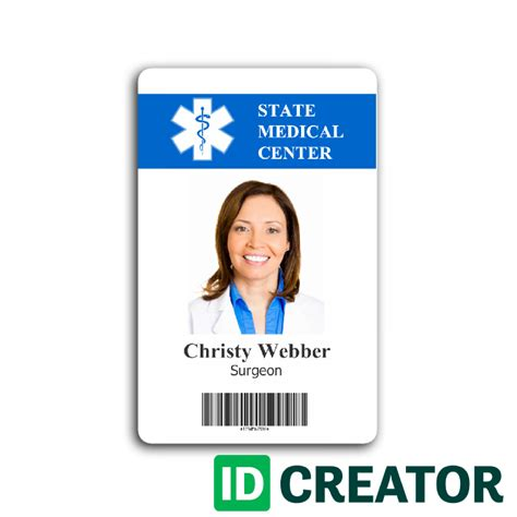 Hospital Employee Card From Idcreator Com Free Employee Badge Template