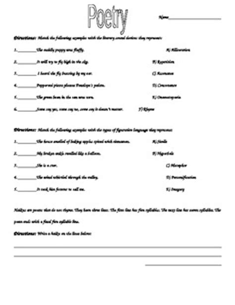 Elements Of Poetry Worksheet elements of poetry worksheet by laurie nelson teachers