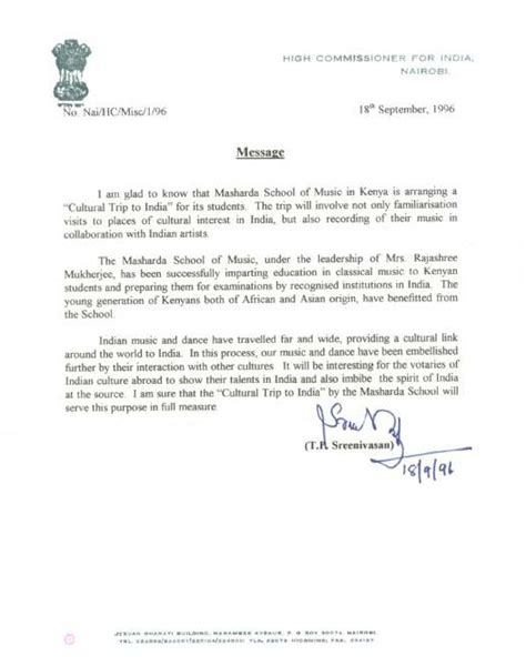Indian Embassy Demand Letter Ma Sharda School Of 174 Letters Of Appreciation