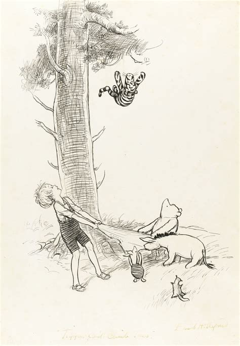 E H Shepard Sketches by E H Shepard Quot Tiggers Can T Climb Trees Quot 296 By 200mm